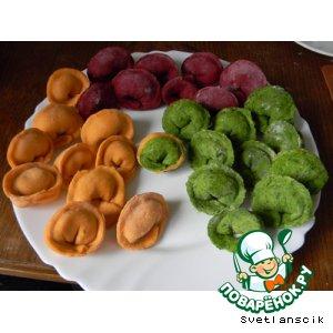 Рецепт Цветные пельмешки с семгой