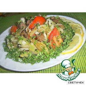Рецепт Тeплый салат с белыми грибами
