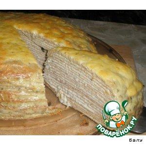 Рецепт Блинный пирог с селедочным паштетом
