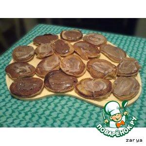 Рецепт Кофейные оладьи с клубнично-шоколадным вкусом