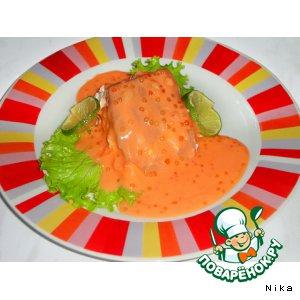 Рецепт Лосось в сливочно-икорном соусе