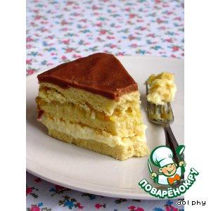 Рецепт Песочный торт со сгущенкой, фруктами и шоколадно-карамельной глазурью