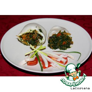 Овощные кальмары со шпинатом