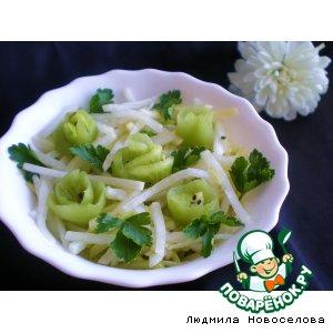 Салат из дайкона и яблок, с заправкой из киви вкусный рецепт приготовления с фотографиями готовим