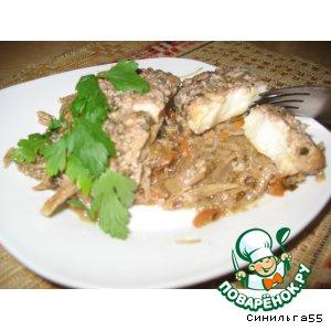 Рецепт Камбала с овощами под ореховым соусом