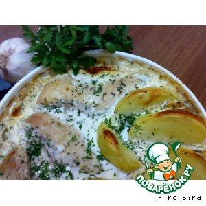 Рецепт Куриная грудка в сливочном соусе с травами и чесноком