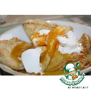 Рецепт Блинчики с апельсиновым соусом и мороженым