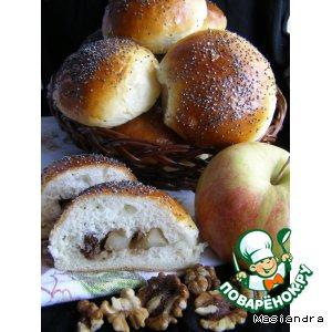 Рецепт Булочки с медовыми яблочками, изюмом и грецкими орехами