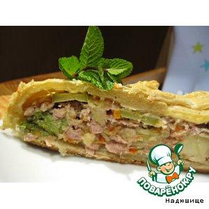 Рецепт Слоеный пирог с фаршем индейки