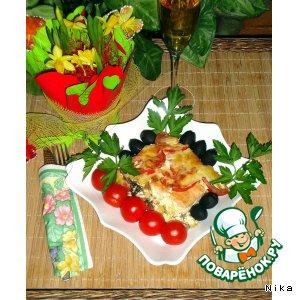 Рецепт Запечeнная рыба с помидорами и грибами