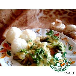 Рецепт Запеканка из грибов и шпината, под сырным соусом