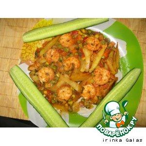 Рецепт Жареная картошка с креветками и овощным соусом