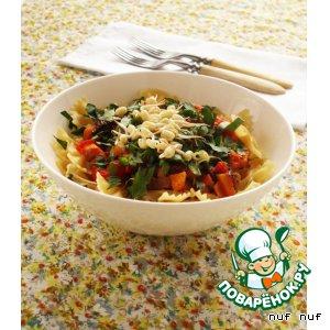 Рецепт Фарфалле с тыквой, помидором и проростками фасоли маш