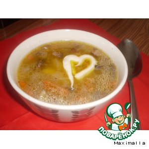 Рецепт Манный суп с грибами и копченым салом