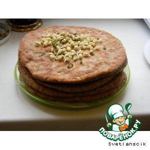 Рецепт Лепешки из цельнозерновой муки с пророщенными зернами маш