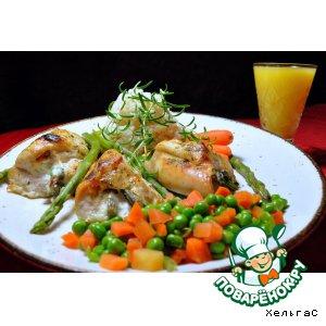 Рецепт Куриные грудки, фаршированные спаржей (аспарагусом) и сыром