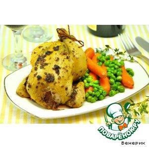 Рецепт Цыплята в ароматном масле и гарнир из зеленого горошка с морковью