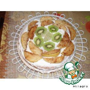 Рецепт Бисквитный торт с творожным кремом и яблоками