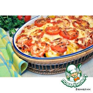 Рецепт Запеканка из овощей-гриль с моцареллой и пармезаном