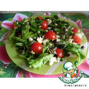 Рецепт Салат с рикоттой, помидорами черри и тыквенными семечками