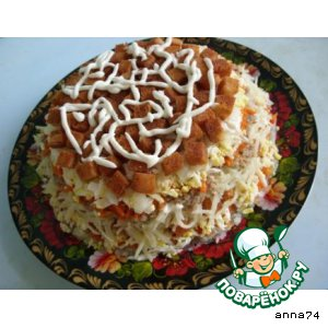 Салат «Сардинка с гренками» домашний рецепт приготовления с фото пошагово