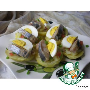 Рецепт Закуска из запеченного картофеля с сельдью