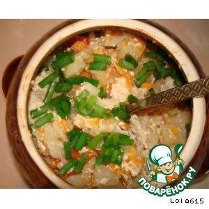 Рецепт Капуста с куриным филе в сметанно-соевом соусе, в горшочке