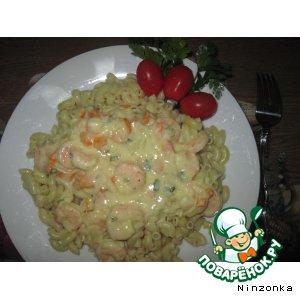 Рецепт Макароны с соусом из креветок
