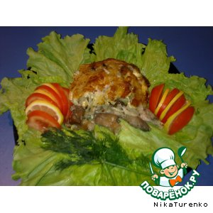 Рецепт Вешенки, запечeнные  в картофельно-кабачковых слоях
