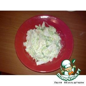 Рецепт Салат из молодой капусты с копченой куриной грудкой