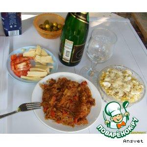 Рецепт Кабачки жареные с капустой и помидорами