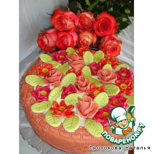 Торт корзина с цветами или вишня в