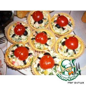 Рецепт Салат крабовый в тарталетках