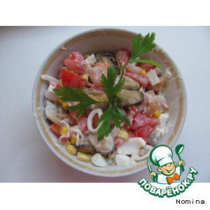 Рецепт Салат из морского коктейля