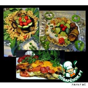 Рецепт Цуккини, баклажаны, помидоры и макароны  в разных вариантах