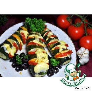 Рецепт Цукини, фаршированные сыром и помидорами
