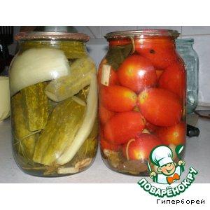 Рецепт Консервированные огурцы и помидоры