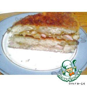 Рецепт Кабачковый пирог с капустой и сосисками