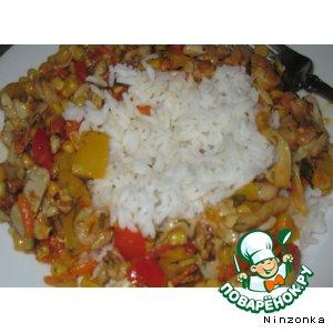 Рагу из овощей с кальмарами и креветками