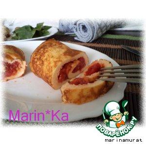Рецепт Яичный рулет с помидорами и орегано