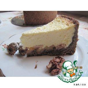 Рецепт Творожно-яблочный пирог с маково-ореховой основой