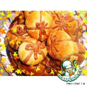 Рецепт Булочки-подарки с ореховой начинкой