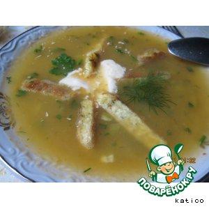Рецепт Овощной суп-пюре с тыквой, кабачком и сырно-чесночным омлетом