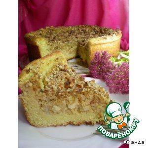 Рецепт Пирог из дрожжевого творожного теста с яблоками