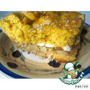 Рецепт Тыквенно-сырный пирог с капустой и яйцом