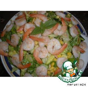 Рецепт Салат с креветками и тунцом