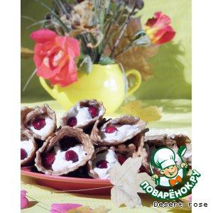 Рецепт Вафельные рожки  с творожным кремом и клюквой