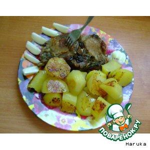"""Рецепт """"Обед великана"""" - антрекот с картофелем в мультиварке"""