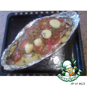 Рецепт Лещ, запеченный в помидорах с картошечкой