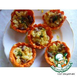 Рецепт Тыквенные корзинки с начинкой из макаронного салата